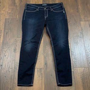 Silver Aiko Mid Super Skinny dark wash jeans